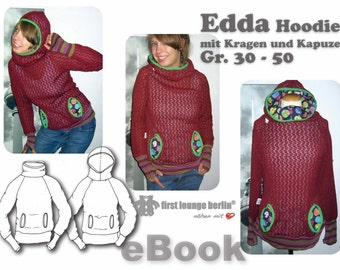 Edda *** sweater, hoodie, eBook in German, sewing instructions with pattern, size 30-50