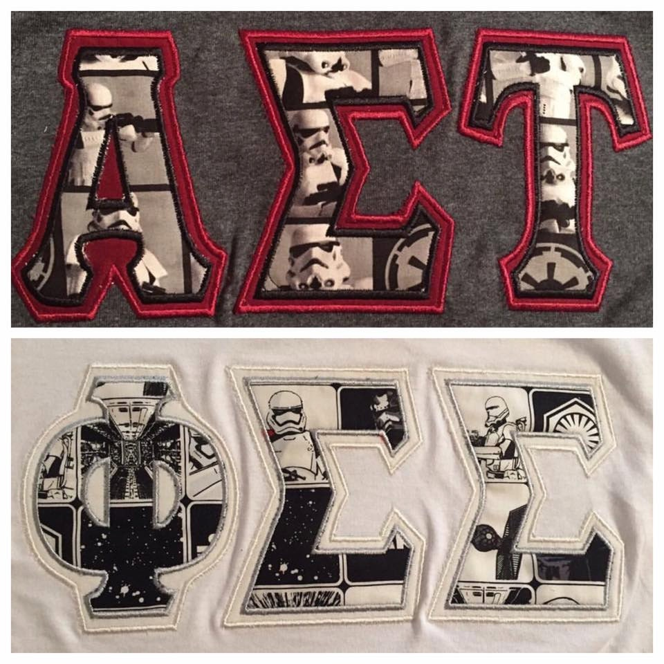 Custom star wars greek letter t shirt longsleeve t shirt or for Custom sorority t shirts
