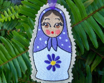 Christmas ~ Holiday ~ Gift ~ Ornament Traditional Russian Style Mamushka~ Matryoshka~Babushka Doll Lavender & White Machine Embroidered