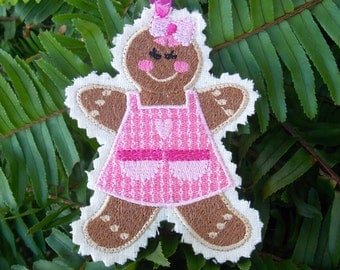 Christmas ~ Holiday Gingerbread Girl ~ Kid ~ Ornament ~ Decoration ~ Gift ~ Wreath Machine Embroidered