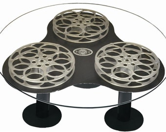 42 Inch Round Glass Top 35MM Movie Triple Film Reel Silver Aluminum Coffee Table