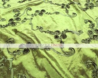 """Swirrled Ribbon Taffeta Fabric By The Yard - Dark Lime - 59"""" - Polyester Wedding Dress - Craft - Sewing"""