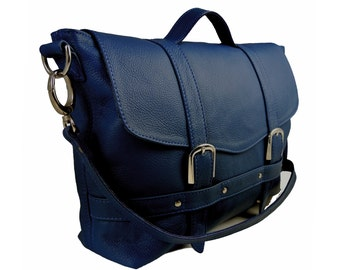 Handmade Blue Leather Midi Satchel - Can be Personalized
