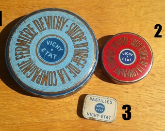 3 antique candy cans from vichy