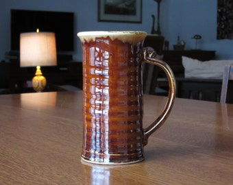 Uncommon Hall China Tall Slender Mug, Cup, Beer Stein, Tankard, Brown Drip, East Liverpool Ohio, Hall China Pottery,Hall Tall Brown Drip Mug