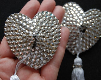 White/clear crystal acrylic nipple pasties w/ spinning tassels