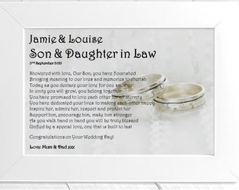 Personalised Son & Daughter in Law Framed Poem
