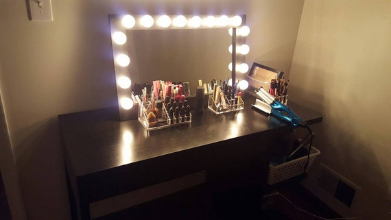 Lighted Vanity Mirror With Storage : Black Space Saver lighted vanity mirror. Bottom by WoodUBeMine
