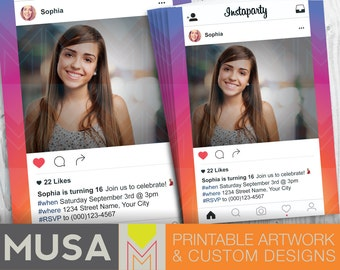 Instaparty   Instagram & social media inspired    Personalized Digital Invitation with photo