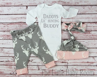 Personalized Onesie,Baby Leggings and Headband,Daddys Hunting Buddy,Girls Deer,Girls Coming Home Set,Pink,Gray,Baby,Onesie,Headband,Hat,Go