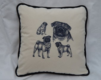 Embroidered Pug Pillow