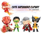 Cute superhero Clipart set 2  PNG file-300 dpi