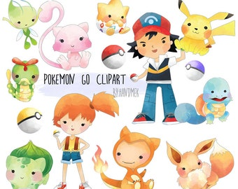 Pokemon go inspired clipart characters: instant download, PNG file - 300 dpi
