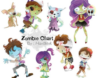 Cute zombie clipart: instant download, PNG file - 300 dpi