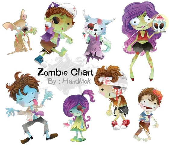 Cute zombie clipart: instant download PNG file 300 dpi