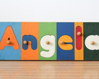 1990s Wooden Jigsaw Name Puzzle ANGELA