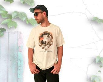 Blue Eyed Wolf & Dreamcatcher Tee Shirt - FREE SHIPPING!!!
