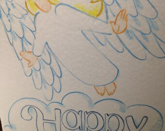 ANGEL oversized Birthday Card Hand drawn & colored PERSONALIZED for you