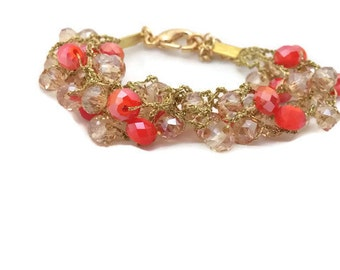 Crochet bracelet, Coral bracelet, birthday gift for her,  Golden bracelet, gift for her, crochet jewelry, swarovski bracelet, from Israel