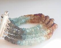 Multi gem multistrand cuff gold filled bracelet,6 strands of Labradorite, Citrine, Carnilol,Garnet & aquamarine with gold filled tube clasp