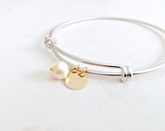 Personalized Initial Bangle Initial jewelry Pearl Silver letter Bangle Gold letter bangle monogram initials monogram jewelry custom initials