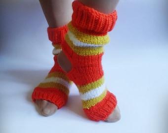 Yoga Socks, Hand Knitted Soks, Orange Knit Soks, Heel Less Socks, Pedicure Socks, Flip Flop Socks, Pilates Socks
