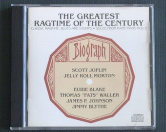 Vintage Music CD, The Greatest Ragtime Of The Century, Scott Joplin, Jelly Roll Morton, Gift For Musician, Free Shipping