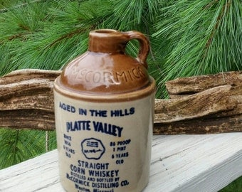 Corn Whiskey Jug McCormick Platte Valley Westinghouse Missouri 1 Pint 1976