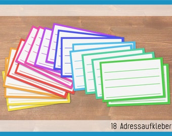 Colourful - 18 recycling adress labels in 9 colours / cut by hand / sticker