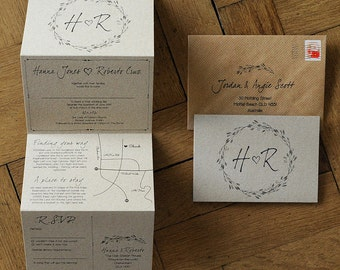 Woodland Story Rustic Wedding Invitation Set on Kraft Card - wreath illustration and optional custom map. Natural / Barn / Farm invites.