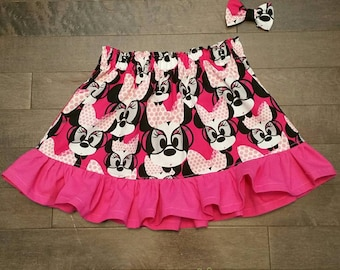 The Pink Minnie Mouse Ruffle Skirt and Mini bow