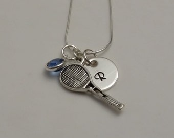 Tennis necklace with Initial charm