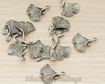 PDT1071-AR // Antique Rhodium Plated Ginkgo Leaf Pendant, 2 Pc
