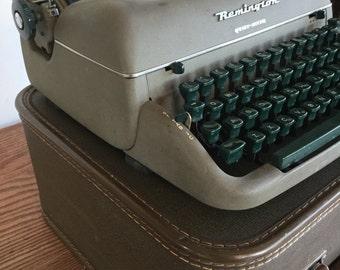 Vintage Typewriter Remington Rand Grey Emerald Keys With Case