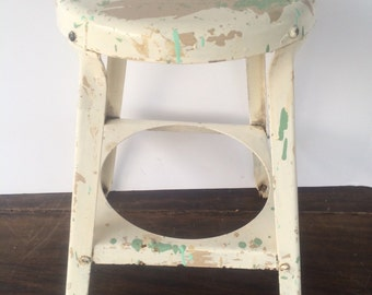 Vintage Stool Rustic Furniture Industrial Metal
