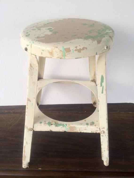 Vintage Round Stool Rustic Furniture Industrial Metal Milking