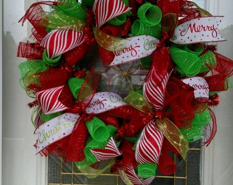 Christmas Wreath / Christmas Deco Mesh Wreath / Deco Mesh Wreath / Christmas