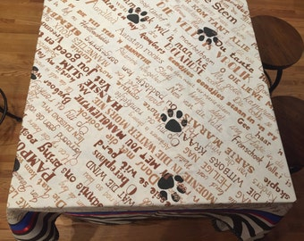 Square handpainted tablecloth featuring Afrikaans songs 72 X 72
