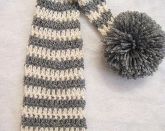 Crochet Elf Hat Newborn Photo Prop, Gray And Cream, Ready To Ship, newborn elf hat, striped elf hat, elf hat photo prop, crochet elf hat