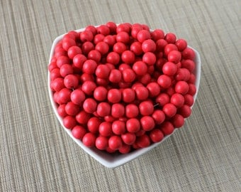 10mm Cayenne Red - Bright Red - Round Wood Beads - Dyed and Waxed - 15 inch strand