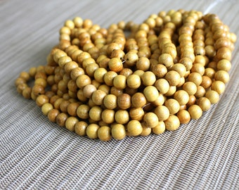 8mm Natural Nangka Jackfruit - Round Premium Wood Beads - 15 inch strand - 4BR8-4