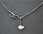 Mother's day gift Women gift for her Silver lariat Bird Necklace sale bird Lariat necklace Y necklace Silver Bird Jewelry silver necklace