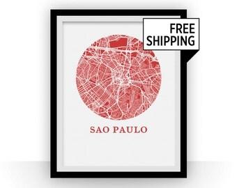 Sao Paulo Map Print - City Map Poster
