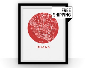 Dhaka Map Print - City Map Poster