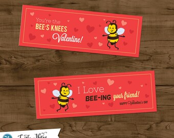 2 Printable Valentine Bees Treat Bag Toppers
