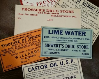 Vintage pharmacy labels, Apothecary labels, Drug Store, Soda Fountain, mixed lot of 6, paper crafts, scrapbooking, ephemera,  assorted