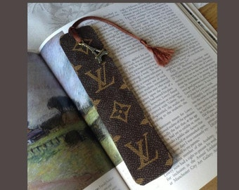 ReCycled Louis Vuitton Bag into BOOKMARK with Eifel Tower Charm