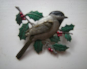 JJ Jonette brooch bird pin-pewter bird-green holly branches-collectables-signed pin-
