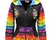Women Pixie Hooded Full Rainbow Sleeved Patchwork Rib Cotton Jacket Festival Style Multicolored Ladies  Hippie Jacket Cardigan Boho Sweater