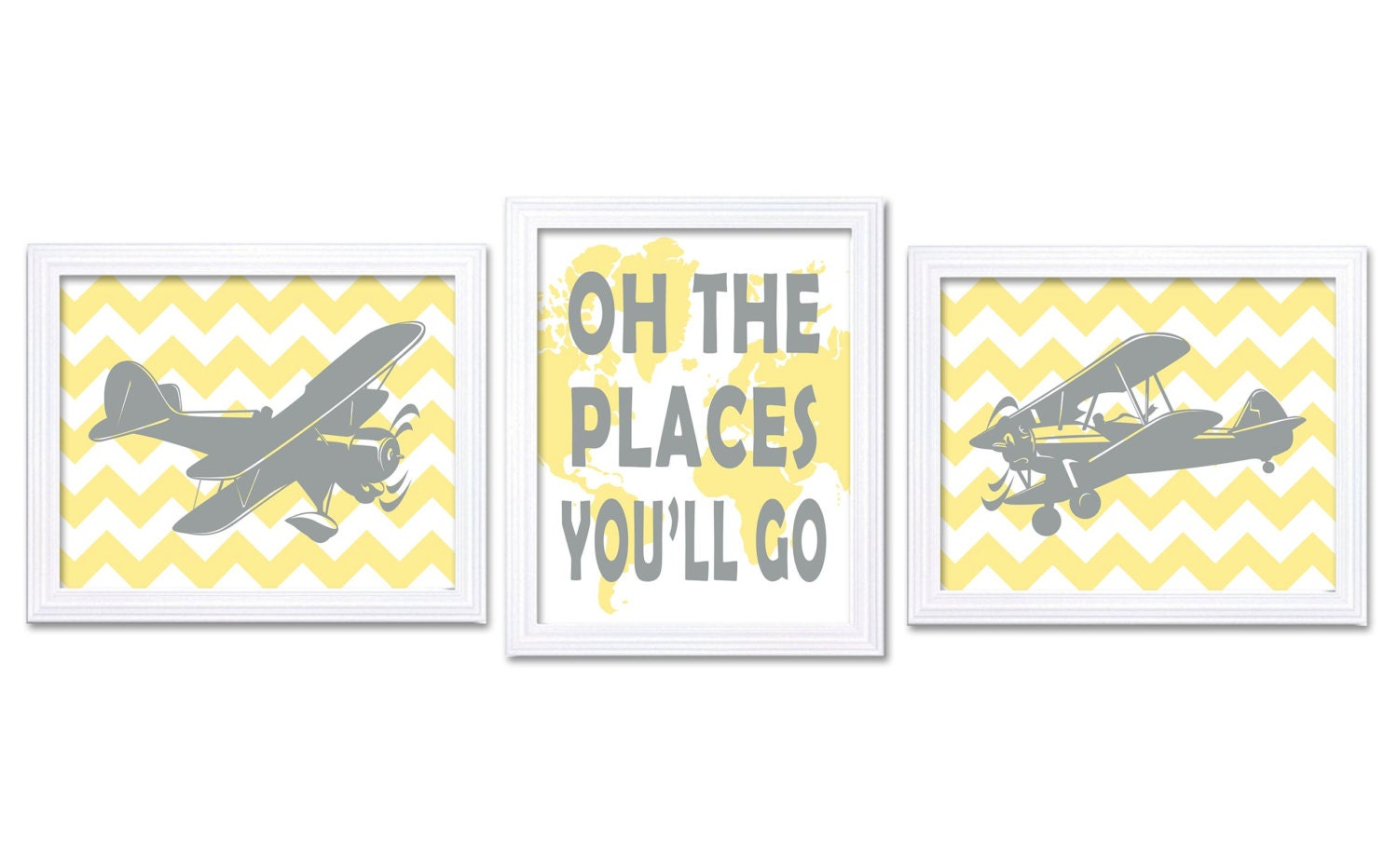 Airplane Nursery Art Set of 3 Print Oh The Places Youll Go Yellow Grey World Plane Vintage Antique O